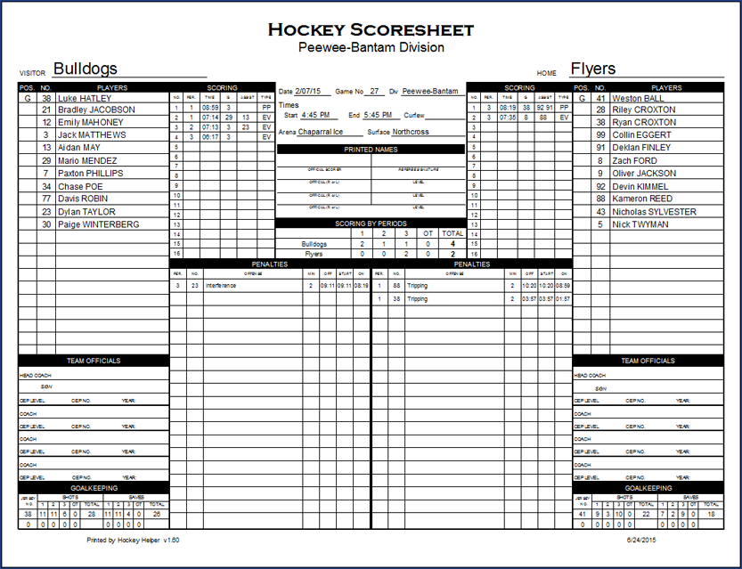 [ Hockey Helper game scoresheet window ]